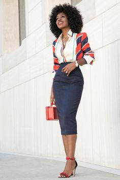 Style Pantry   Scarf Print Shirt + Pencil Midi Skirt