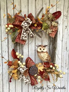 Your place to buy and sell all things handmade Owl Wreath ,Fall Wre… – Fall Wreath İdeas. Easy Fall Wreaths, Owl Wreaths, Diy Fall Wreath, Thanksgiving Wreaths, Wreath Crafts, Deco Mesh Wreaths, Thanksgiving Decorations, Holiday Wreaths, Rustic Wreaths