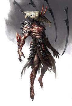 Beautiful Science Fiction, Fantasy and Horror art from all over the world. Dark Fantasy Art, Fantasy Artwork, Dark Art, Fantasy Character Design, Character Inspiration, Character Art, Fantasy Monster, Monster Art, Samurai Artwork