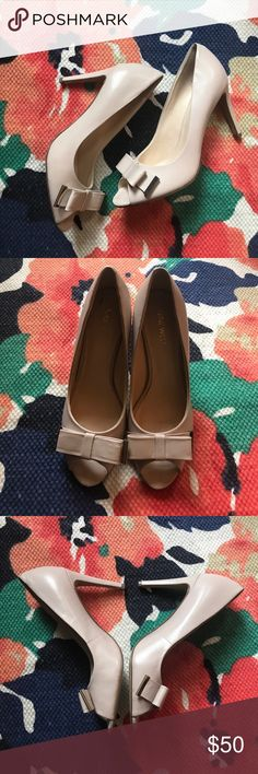 Nine West nude pumps - never worn Nine West difference now pumps - leather open toe 3 inch heel Nine West Shoes Heels