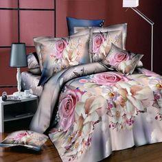 Home textiles New 3D love flower Bedding Sets 4pcs/set Duvet Cover set Bed Sheet Bedclothes Queen Size