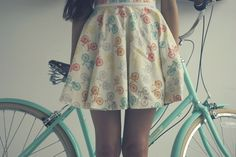 bicycle skirt and vintage style bike, lovely.