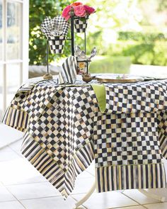 MacKenzie-Childs Courtly Check Tablecloth, Topper, Runner, Placemat, & Napkin