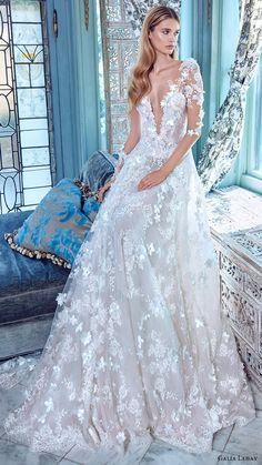 GALIA LAHAV bridal spring 2017 illusion long sleees deep vneck aline lace wedding dress (arabella) mv   #bridal #wedding #weddingdress #weddinggown #bridalgown #dreamgown #dreamdress #engaged #inspiration #bridalinspiration #weddinginspiration #weddingdresses #sleeves #romantic #lace