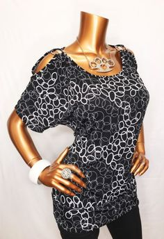 3926f908f9b Saint Tropez West NWT M Top Blouse Black White O Ring Cold Open Shoulders  USA