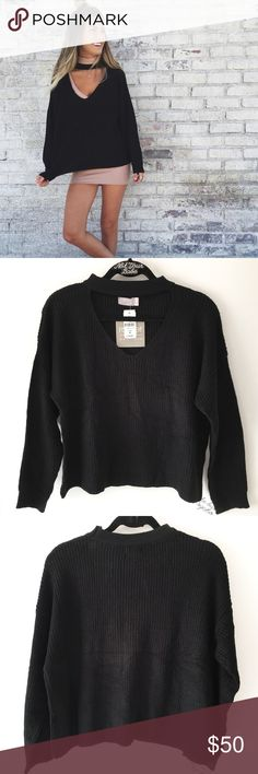 "BNWT LF black chocker sweater Size: M 22"" in length, 26"" in bust  100% acrylic  This sweater runs small so I wear medium for reference.  ❌ Lowball offer will get yourself blocked  LF Sweaters Crew & Scoop Necks"