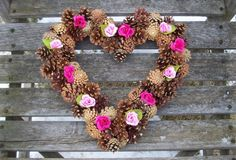 Heart Pine Cone Wreath With Silk Roses. by NaturesCraftSupply
