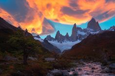 """nakedplanet: """"It is good to have an end to journey toward; but it is the journey that matters in the end. - Ernest Hemingway Mt. Fitz Roy is among the most technically challenging mountains for mountaineers on Earth. Today more than 4000 people have scaled the summit of Mount Everest while Mount Fitz Roy might only be successfully ascended once during the span of a year.  Mount Fitz Roy also serves as the basis for the Patagonia clothing logo. @paul_weeks"""""""