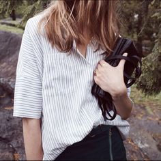 ISO Madewell courier shirt *** In search of *** a Madewell courier shirt (the short sleeved button down) in stripe or white cotton. Preferably in small, but medium works too. Please and thank you!  Madewell Tops
