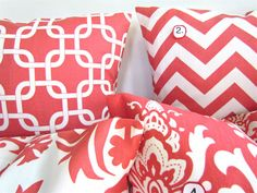 coral accent pillows $15