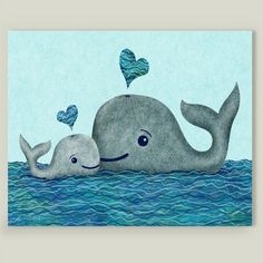 Fun Indie Art from BoomBoomPrints.com! http://www.boomboomprints.com/Product/elephanttrunkstudio/Whale_Mom_and_Baby/Art_Prints/8x10_Print/