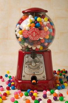 "9/"" Classic Silver Gumball Machine Dispenser Made of Cast Iron"