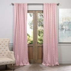 Exclusive Fabrics Casablanca Rose Rod Pocket Blackout Curtain Panel... ($75) ❤ liked on Polyvore featuring home, home decor, window treatments, curtains, pink, outdoor screen, pink curtains, window curtains, outside window shades and rod pocket curtains