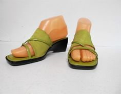 Italian Shoemakers Green Wedge Slip On Sandals Shoes Ladies 7 Heel 8320 Tap Shoes, Shoes Sandals, Dance Shoes, Heels, Green Wedges, Slip On, Lady, Fashion, Dancing Shoes