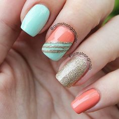 {diy nails cute melon, gold and light blue nails} Coral Nails, Orange Nails, Gold Nails, Coral Nail Art, Shellac Nails, Fancy Nails, Trendy Nails, Turquesa E Coral, Coral Turquoise