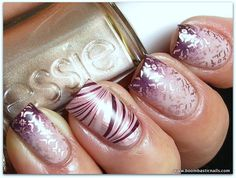 Pinned by www.SimpleNailArtTips.com STAMPING NAIL ART DESIGN IDEAS -   Pink and Purple sponged nail art with Essie Gold stamping