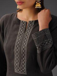 Buy Black Embroidered Anarkali Kurta Mangalgiri Cotton Online at Jaypore.com