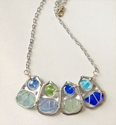 """Sea Glass necklace in """"Shades of the Sea"""" fashioned with upcycled pop-tabs by oceansbounty, $18.00"""