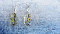 Flower earrings, Handmade, Dangle, ice resin, leaf, feather