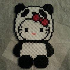 Panda Hello Kitty perler beads by dezarroyo