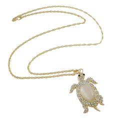 Gold Tone Cat's Eye Cab & Rhinestone Turtle Pendant Necklace $14.00