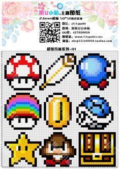 超级玛丽01 游戏道具 金币 蘑菇 板栗仔 无敌星星 变身羽毛 小炸弹 拼豆小站 拼拼豆豆 拼豆豆图纸 Hama Beads, Pixel Art, Melting Beads, Beading Patterns, Charts, Stitching, Mario, Craft Ideas, Dolls