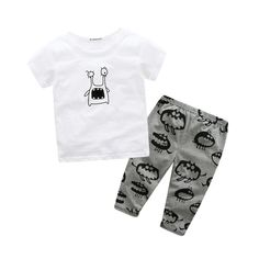 Sets Of Baby Clothes 2 PC Suit Rounhirt   Pants Cotton