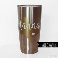 Personalized {ANY} State & Name Tumbler Decal
