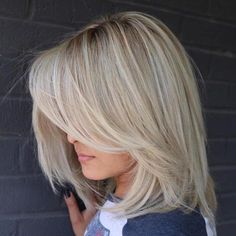 Long Layered Blonde Balayage Bob