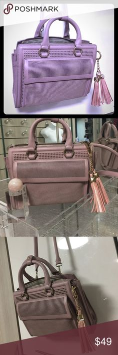 Zara tassel laser cut dusty pink gold hardware bag brand new with inside tags , dusty pink laser perforated , tassels , has slight marks shown on last pic from storage, very cute bag , detachable long handle Zara Bags Crossbody Bags
