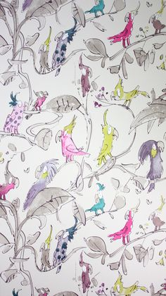 Cockatoos Wallpaper in Tan and Colourful from the Zagazoo Collection by Osborne & Little