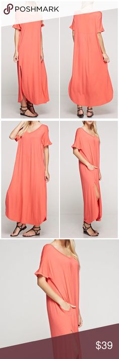 The Must Have Maxi Dress The must have Maxi Dress for spring and summer! Loose fitting Salmon color dress that Features a v-neck, 2 pockets and 2 side slits. 95% Rayon, 5% spandex. Fabfindz Dresses Maxi