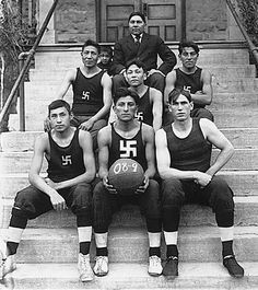 """Chilocco Indian Agricultural School basketball team in 1909."" - Native American basketball team crop - Swastika - Wikipedia, the free encyclopedia"
