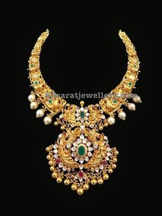 22 carat gold traditional peacock nakshi choker, which is called kante from SRJ Fine Jewellers Gold Wedding Jewelry, Bridal Jewelry, Gold Jewelry, Beaded Jewelry, Jewelery, Gold Necklaces, Jewelry Sets, India Jewelry, Jewelry Design