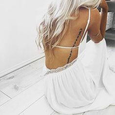 #tan #pretty #blonde #tattoo #sidetattoo #backtattoo #script #scripttattoo #girly #whitedress