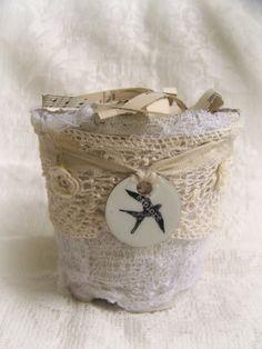 Shabby White Altered Peat Pot