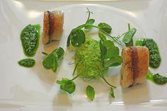 kaquus Hausmannskost: hellgrün, Erbsenmousse mit Kaninchenrücken