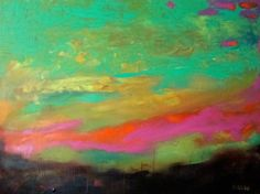 Oversize 48 x 36 Abstract Art Earthy Sunset Deep Gallery Painting Free Shipping by Karen Fields