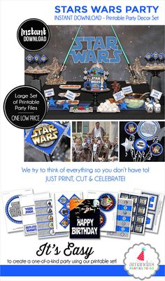 Star Wars Party Printable  Star Wars by AmandasPartiesToGo on Etsy