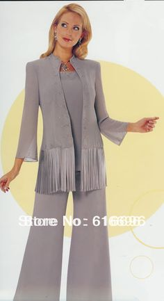Free Shipping Custom-made Sliver Chiffon Long Sleeves Mother of the Bride Pant Suits Wedding Mother Of bride Dress US $99.00