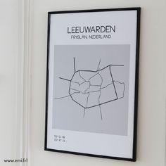 Leeuwarden, minimalistische poster en ansichtkaart van plattegrond, stadsplattegrond