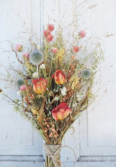 Dried Flower Bouquet Roses Shabby Chic by VintagePolkaDotcom
