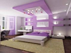 White Wall And Ceiling Color Cool Girls Rooms With Wall Moutn LCD ...