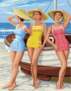 Beach Girls - tapestry kit by Royal Paris - A retro picture of three bathing belles in blue, yellow and pink swim suits and waering sun hats. Tent Stitch, Tapestry Kits, Retro Pictures, Penelope, Dmc, Pink Swimsuit, Beach Girls, Sun Hats, Pin Up