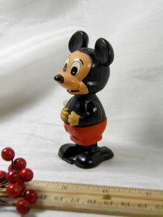 1977 Toy Mickey Mouse Disney Walker  Wind Up  by GreenGablesLane