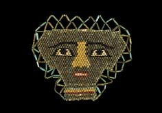 A restrung trapezoidal panel of discoid beads in the form of a human face with red lips. Black Eyebrows, Memento Mori, African Art, Red Lips, Beadwork, Egyptian, Teeth, Period, Masks