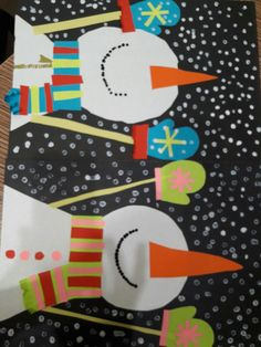 Collage snowman - focus on cutting and gluing Christmas Art Projects, Winter Art Projects, Winter Crafts For Kids, Art Lessons For Kids, Art For Kids, Snowflakes Art, First Grade Art, Kindergarten Art Projects, Easy Arts And Crafts