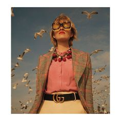 Spotted in the March issue of Marie Claire UK, a checked wool jacket, men's style shirt, GG Marmont belt, a cherry necklace and oversize Gucci Eyewear sunglasses from Gucci Spring Summer Photographer: David Gomez Maestre Styling: April Hughes Gucci Fashion, Moda Fashion, Fashion Shoot, Editorial Fashion, High Fashion, Fashion Trends, Beauty Editorial, Ladies Fashion, Runway Fashion
