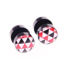 BodyJ4You Fake Plugs Triangles Logo Gauge Black Acrylic 16G 00G Gauges Cheater Jewelry