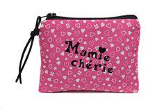cadeau mamie porte-monnaie en tissu rose coeurs personnalisé